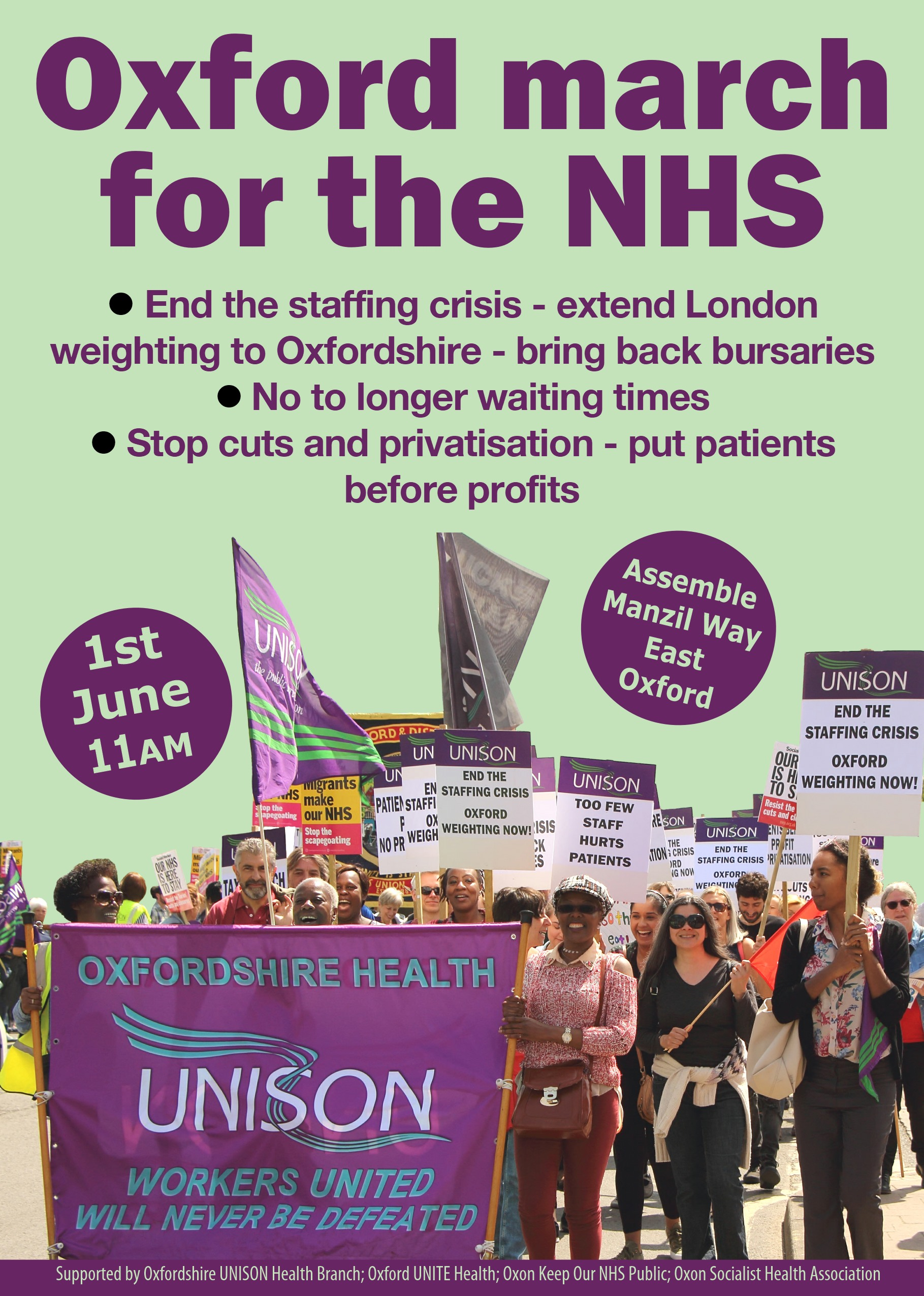 June 1 2019 Oxford NHS march leaflet
